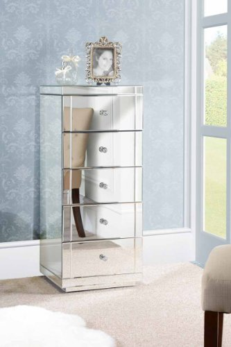 MY-Furniture-JULIANNA-Comoda-alta-de-espejo-con-5-cajones-Gama-CHELSEA