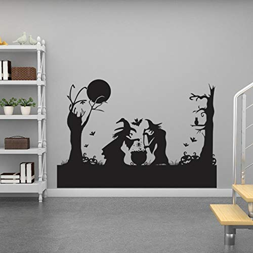 BMBM Für Halloween Wohnzimmer Schlafzimmer Studie Wohnkultur Zwei Hexen Spaß PVC Wandbild Kunst Aufkleber , 83 * 122 cm (Spa Hexe)