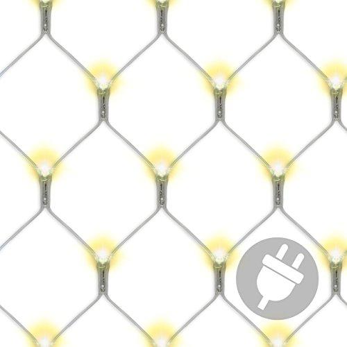 Nipach GmbH 128 LED Lichternetz 3x3 m warm weiß Trafo Netzvorhang Lichtervorhang Weihnachtsbeleuchtung Weihnachtsdeko Party Partylicht Pavillonbeleuchtung Lichterkette für Aussen Xmas
