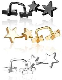 Yumilok - 3 pares de pendientes con doble estrella de 5 puntas, color negro,