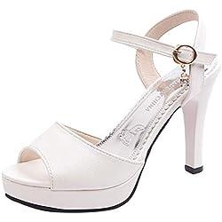 HCFKJ Sandalias Mujer Verano 2019 Zapatos De Punta Redonda De Moda para Mujer Sandalias Antideslizantes De TacóN Alto con Hebilla De Una Palabra