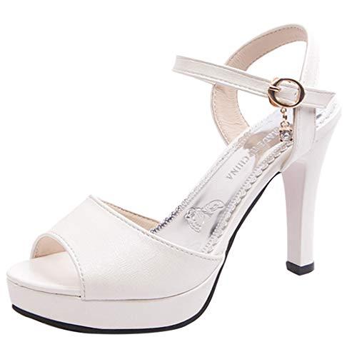 Honestyi Scarpe con Tacco a Spillo Donna Sandali Estivi Eleganti Classico High Heels Shoes da Sposa Tacchi Alti Plateau Lavoro Festa Scarpe Casual alla Moda