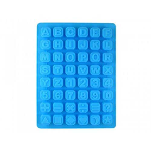 Schokolade Anzahl Formen (48-Cube Alphabet Nummer Symbol Style Silikon Schokoladenkuchen Soap Mould blau)
