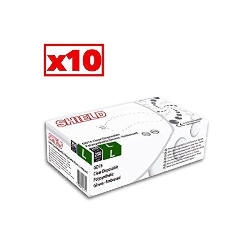 Guanti in polysynthétique trasparente Shield–Cartone Di 10confezioni da 250–AQL–GD76_ 10