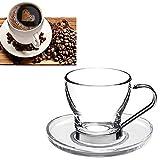 takestop Set de 6 tazas de 100 ml. Taza de café de cristal con asa de acero. Vasos de café exprés
