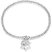 ANNIE HAAK Santeenie Silver Charm Aperto Bracciale Stella, impilabile Bracciale singolo filo con Star Charm, 925 d'argento in rilievo a mano