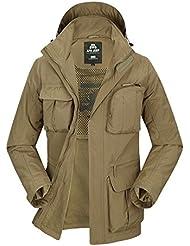 Baishun Jeep de hombre con capucha desmontable mangas abrigo chaqueta