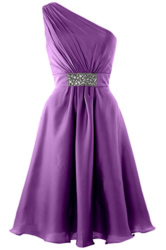 MACloth Elegant One Shoulder Cocktail Dress Short Wedding Party Formal Gown Amethyst