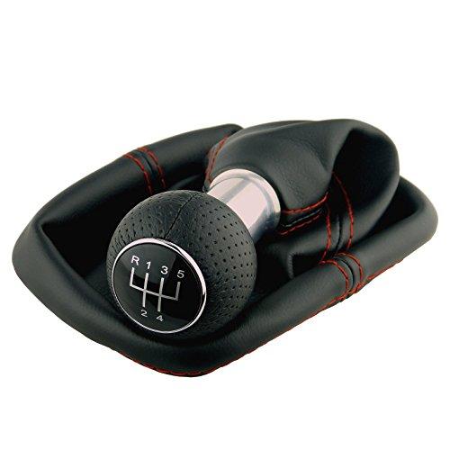 L&P A0254-8 Schaltsack Schaltmanschette in Schwarz roter Naht Rot GTI look Schaltknauf 5 Gang perforiert als Plug Play Ersatzteil