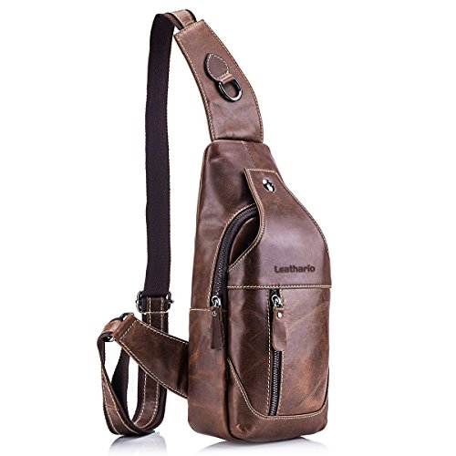Leathario Herren Rindleder Brusttasche Sling Bag Brustbeutel Bodybag Freizeittasche Umhängetasche braun