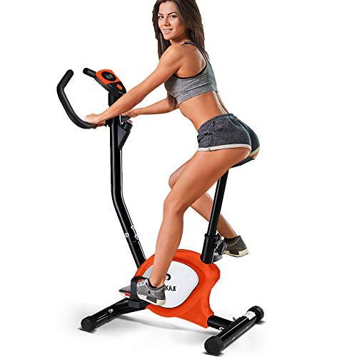 BAKAJI Cyclette Pieghevole Bici Allenamento Fitness Cardio Gambe Pancia Fianchi Bike Spinning con Sediolino Imbottito Regolabile e Display LCD Struttura in Acciaio Inox (Arancione)