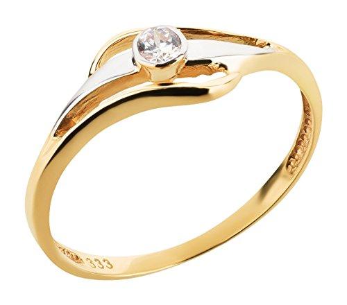 Ardeo Aurum Damenring aus 333 Gold bicolor Gelbgold Weißgold mit Zirkonia im Brillant-Schliff Verlobungsring Solitär