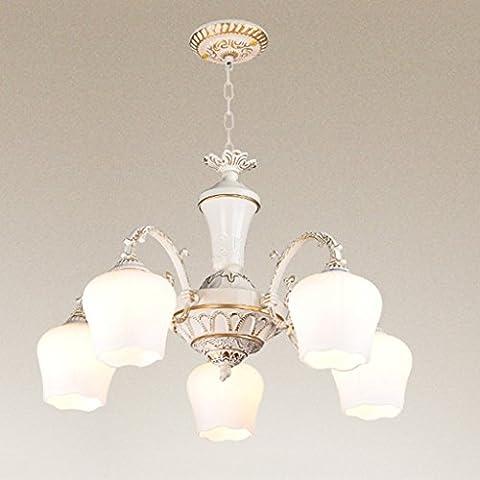 Yuyuan Light Moderne Glas-Kronleuchter, kreative Esszimmer Wohnzimmer Arbeitszimmer dekorative Kunst Laternen Decken lampe, amerikanische einfache 5 Kopf geschnitzte Eisen Hänge lampe, E27 weiß, ohne Glühbirnen