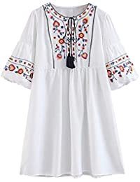 Doballa Mujeres Bohemia Bordado Floral de la túnica de la Blusa Tasseled  Mexicana Campesino Shift Mini bcff6606cea9