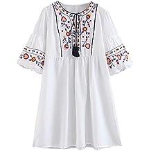 4d9c03593 Doballa Mujeres Bohemia Bordado Floral de la túnica de la Blusa Tasseled  Mexicana Campesino Shift Mini