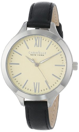 Caravelle 43L164 Women's New York Beige Dial Black Leather Strap Quartz Watch