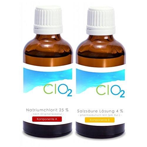 Preisvergleich Produktbild Natriumchlorit 25% 100 ml + Aktivator 4% Salzsäure 100 ml (Ph. Eur.) / EinsEins-Set / vitalundfitmit100 BESTSELLER / das Original / Trinkwasserdesinfektionsmittel / zur Chlordioxidherstellung,  Wasseraufbereitung / in speziellen pharmazeutischen Braunglasflaschen mit Tropfeinsatz und Kindersicherheitsverschluss / MADE IN GERMANY