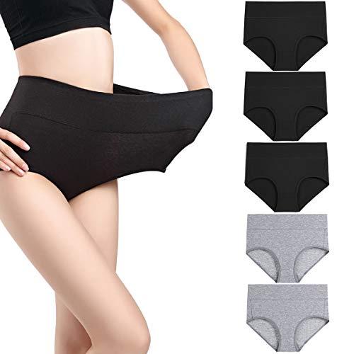 wirarpa Damen Unterhosen Baumwolle Slips Damen Hoher Taille Atmungsaktive Taillenslip Wochenbett Unterwäsche Mehrpack Größen 32-58, 3schwarz, 2grau-5er Pack, Medium (38/40)