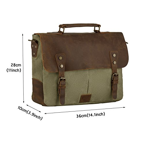 P.KU.VDSL Leinwand Echtes Leder Vintage Schultaschen Schulter Messenger Bag Hand Akten A4 Size 14 Zoll Laptop Tasche (Dark Grey) A - Armygreen