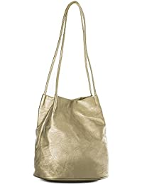 173e27b829d53 Big Handbag Shop Womans Fashion Designer Medium Size Plain Soft Vegan  Leather Hobo Bucket Tote Shoulder Bag…