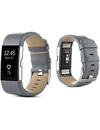 Malloom Deportes PU cuero reloj banda correa para Fitbit Charge 2 (Gris)