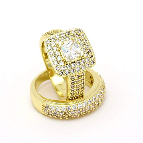 SSLL Ring damen Damen Verlobungsring Set Kristall Gold Farbe Zirkon Ring In Voller Größe Schmuck, 11 - 11 Damen-verlobungsringe, Größe