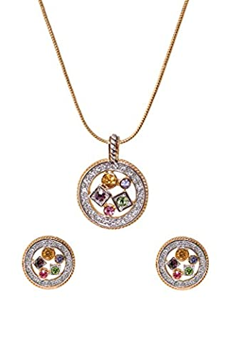 Sempre London 18ct Yellow Gold Two Tone Plated Elegant Designer Pendant with Designer Earrings in CZ Crystal Diamonds for