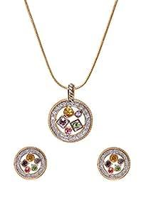 Sempre Londra Due Tono Oro Giallo 18ct placcato elegante design con pendente Design orecchini in cristallo CZ Diamanti per le donne