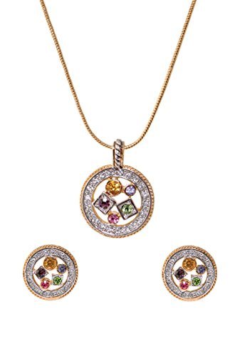 sempre-london-18ct-yellow-gold-two-tone-plated-elegant-designer-pendant-with-designer-earrings-in-cz