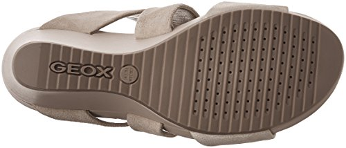 Geox D New Rorie A, Sandali con Zeppa Donna Taupe