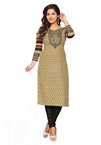 Salwar Studio Women's Beige & Black Cotton Floral, Paisley Printed Unstitched Kurti Fabric (only Kurti Fabric)  available at amazon for Rs.525