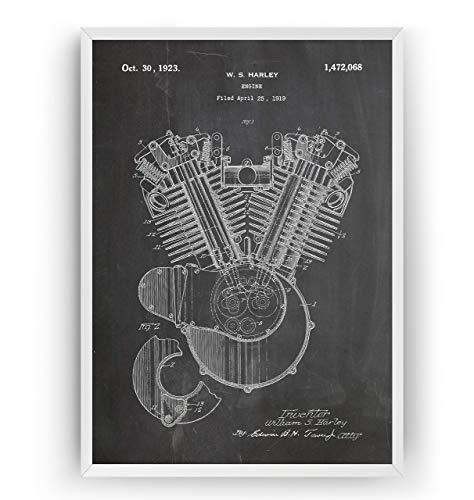 Harley Davidson Motor Patent Poster - Jahrgang Drucke Drucken Bild Kunst Geschenke Zum Männer Frau Entwurf Dekor Vintage Art Gifts For Men Women Blueprint Decor - Rahmen Nicht Enthalten -