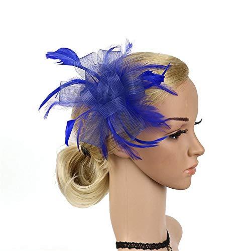 ume der Tanzhaarzusätze der Kinder Plus Perlen blüht Maschenstirnband-Wildkleidshow-Brautkopfschmuck (Farbe : Deep Blue) ()