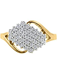 Silver Dew 925 Pure Silver White Gold Plated Cubic Zirconia Cluster Ring For Ladies & Women's