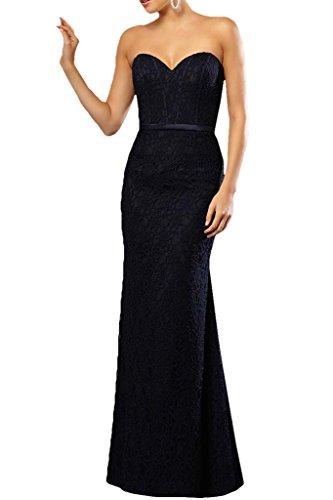 Gorgeous Bride Klassisch Herz-Ausschnitt Etui Spitze Satin Lang Abendkleider Festkleid Ballkleid Inkblau