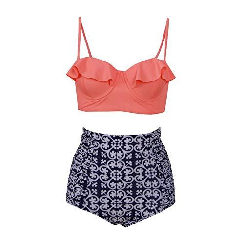 MIJI Bikini - Bikini, Zweiteiliger Bikini mit hohem Bund und Rüschen (Flitterwochen Klassisch 39)