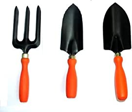 Truphe 3 Piece Garden Tool Set (Small Trovel, Big Trovel, Fork)