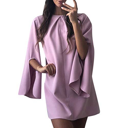 Masoness KleidArt- und Weisefrauen reizvolle Oansatz Feste Schlitz-Aufflackern-Hülsen-Kurzschluss-Minikleid,Sexy Trompetenärmelkleid aus Volltonfarbe mit rundem Ausschnitt -