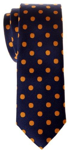 Retreez Cravate fin classique en microfibre tissée à pois–Différentes couleurs Or - Navy Blue with Gold Dots