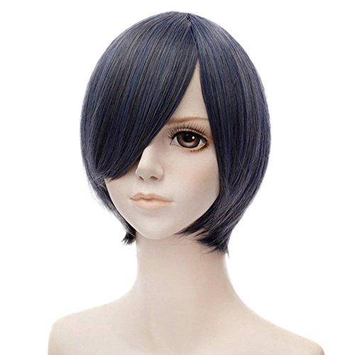 priomix 30cm kurz gerade schwarz mix blau Anime Cosplay Perücke für Black Butler Ciel Hitzebeständige Kunstfaser Haar + (Lincoln Hat Schwarzer)