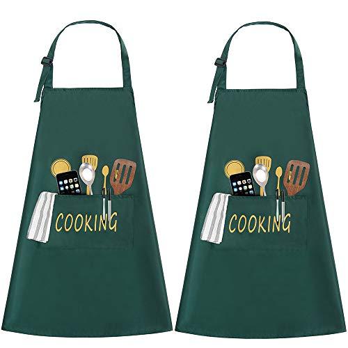 JSDing 2 Stück Kochschürze Küchenschürze mit Tasche Schürze Wasserdicht Verstellbar Nackenband für Herren und Damen Professionell Kellnerschürze Backschürze Grillschürze Latzschürze