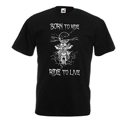 N4690 T-Shirt da Uomo Born To Ride! Motorcycle Clothing (Medium Nero