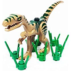 Lego Dinosaur Coelophysis/Raptor - Dark Tan with Dark Green Markings and Grass Stems by Parts/Elements - Animals, Dinosaur