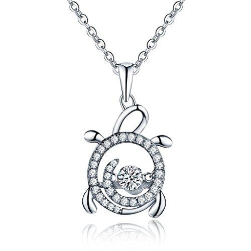 "YL ""Dancing"" Diamant 925Sterling Silber 4mm Zirkonia Meer Schildkröte Anhänger Halskette 45,7cm"