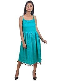 f3ca402869 Secret Bazaar Women s Rayon Beads Decorated Plain A-line Dress(Blue)
