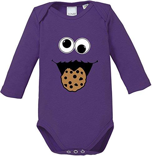 Kostüm Cookie Monster Kopf - EZYshirt® Cookie Monster Baby Body Longsleeve Bio Baumwolle