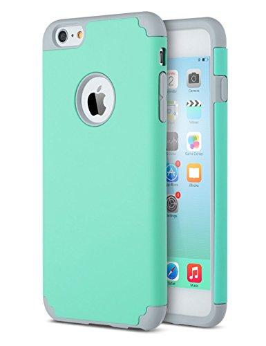 le, iPhone 6 Schutzhülle, zaox Slim Dual Layer weichem Silikon Bumper und Harte PC Back Cover, Dämpfung & griffsicheres Kratzfest Hybrid Case für Apple iPhone 6/6S, Teal+Grey ()