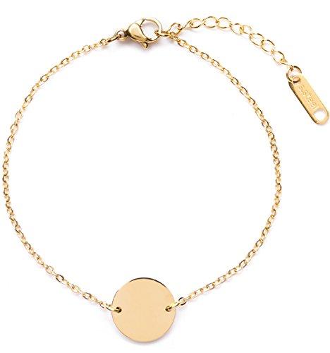 Happiness Boutique Damen Kreis Armband in Goldfarbe | Armband mit Plättchen Rund Disk Design Geometrischer Schmuck