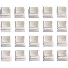 BQLZR - Tapones de plástico para tapones de tapones de tubo cuadrados, 20 unidades, color blanco, blanco