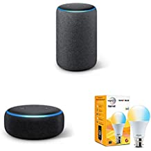 Echo Plus (Black) bundle with Echo Dot (Black) and Wipro white smart bulb